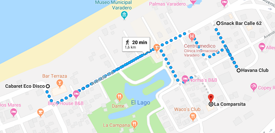 Mappa locali notturni Varadero