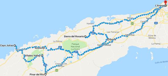 google maps percorso cuba in bici